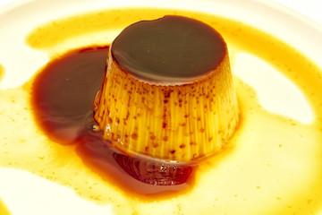 egg custard with caramel sauce