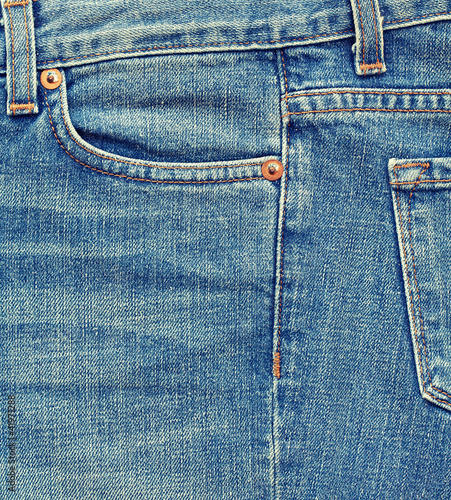 Close-up blue denim with pocket