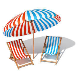 Beach umbrellas and sunbeds