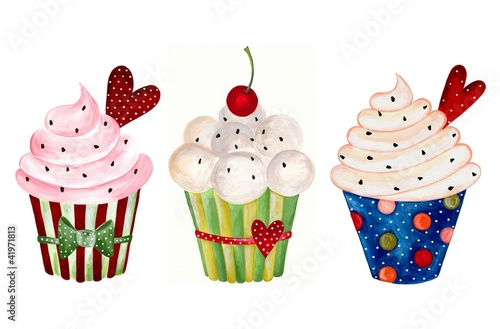 Set of cupcake. Watercolors on paper © evarin20