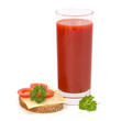 tomato juice glass and sandwich