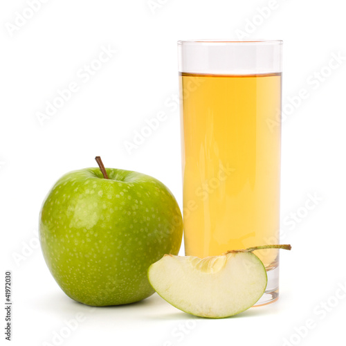 apple juice in glass and apple