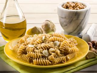 fusilli with hazelnut  pesto and garlic