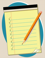 Yellow Paper Pad, list, check marks, pencil, copy space