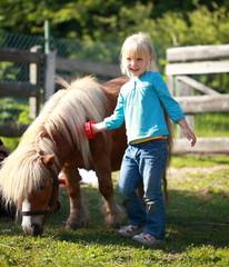 kleines Mädchen putzt Pony