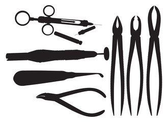 Dental, Silhouettes of surgical instruments