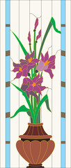 "Vector illustration of ""Stained Glass Irises"""