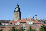 Church tower and city wall in Zutphen (Netherlands)