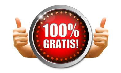 100% Gratis! Button, Icon