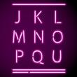 Realistic Neon Alphabet, J-U