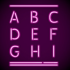 Realistic Neon Alphabet, A-I