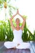Woman doing yoga breathing exercises