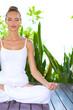 Serene woman meditating