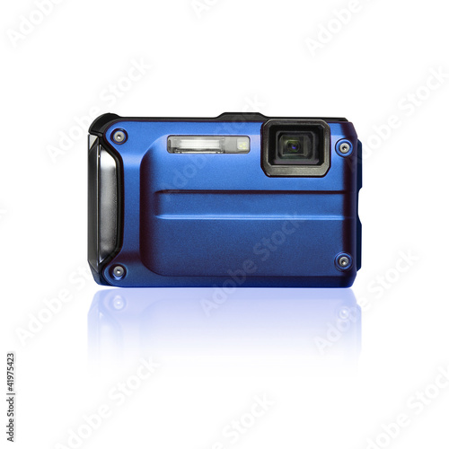 isolated blue compact camera