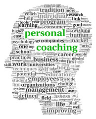 Personal coaching in word tag cloud on white background