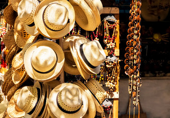 Hats and souvenirs in a cuban street market