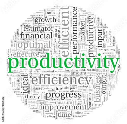 Productivity concept in tag cloud