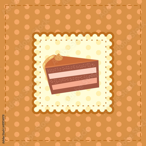 greeting card with a piece of cake