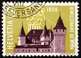 Postage stamp Switzerland 1958 Nyon Castle and Corinthian Capita poster