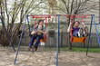 Family on swing
