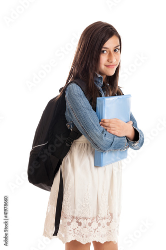 Preteen student with backpack and folder isolated on white