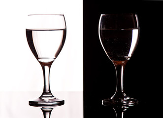 Contrast wine glasses