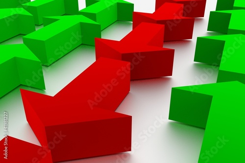 3d rendering of arrows - symbolysing a conflict