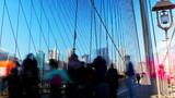People moving in Brooklyn Bridge time lapse, New York, USA
