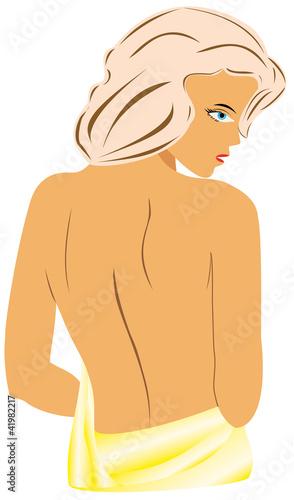 Back beautiful sexy nude woman silhouette.