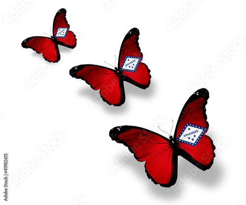 Three Arkansas flag butterflies, isolated on white