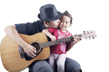 Musician with his daughter