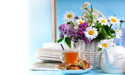 Postcard with tea , flowers and cookies