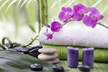 orchidée avec des pierres et bambou
