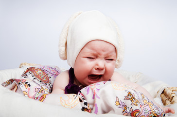 cute baby in the hat crying out loud