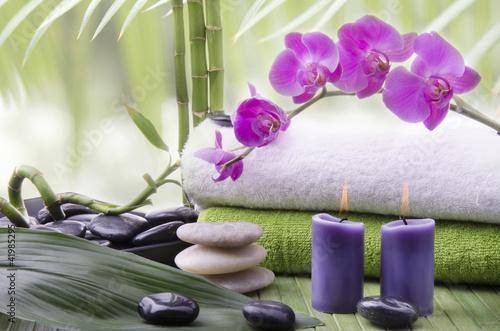 canvas print picture orchidea con pietre e bambù