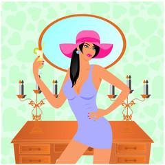 pembe şapkalı kadın