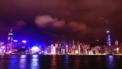 Hong Kong skyline at night. time lapse