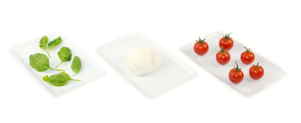 Italian food flag, basil mozzarella tomato on white