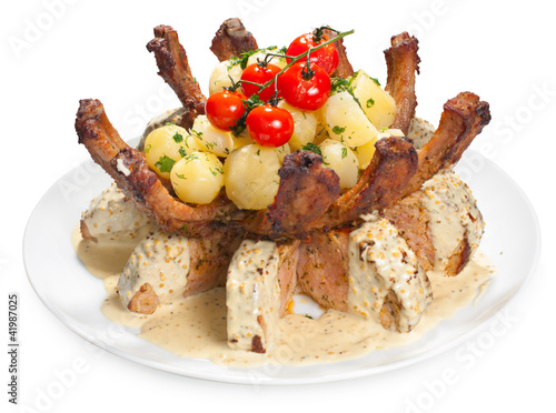 Delicious roasted pork with potatoes
