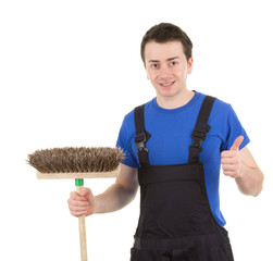 Worker with a broom