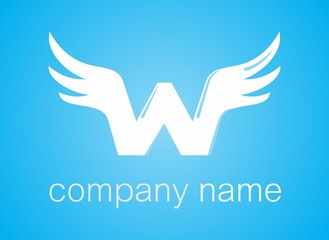 W wings logo symbol - for companies and business