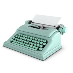 3d Typewriter with blank paper Front Right