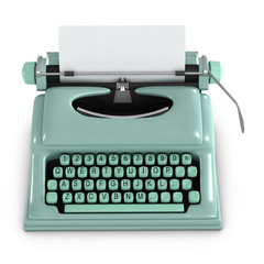 3d Typewriter with blank paper Top View