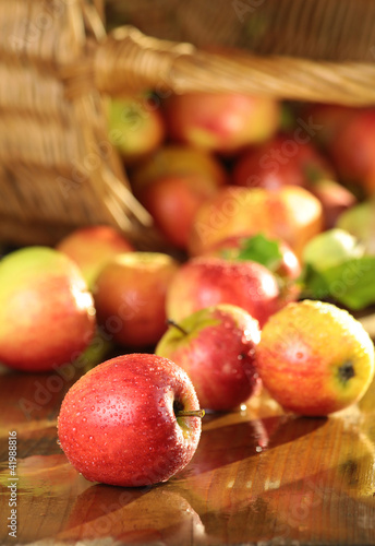 Korb mit Äpfeln auf nassem Tisch