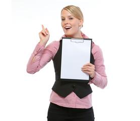 Woman employee showing blank clipboard