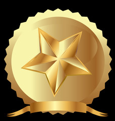 Star seal in gold with ribbon vector