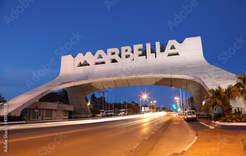 Marbella Arch illuminated at night. Andalusia, Spain - 41989858