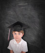 Young Graduation Student and Chalk Board