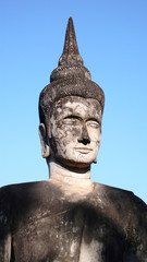 Historic buddha sculpture in Laos
