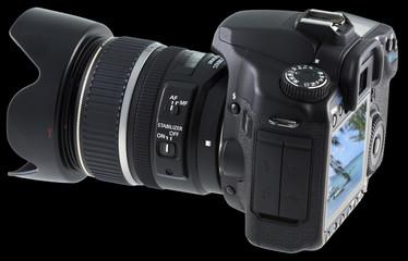 appareil photo reflex numérique sur fond noir